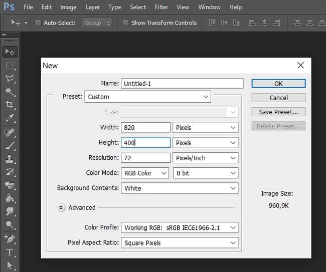 Photoshop: Dimensionamento de Capa de Fanpage Responsiva - ENG
