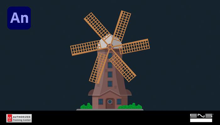 Anime um moinho de vento com o Animate